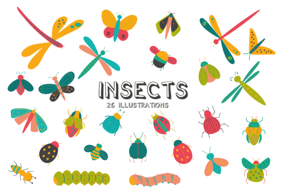Print on Demand: Insects Clipart Graphic Illustrations By poppymoondesign