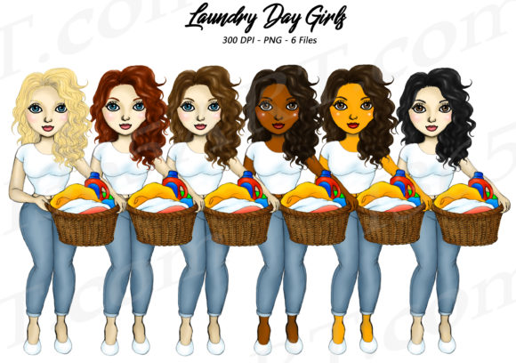 Laundry Day Women Chores Clipart Set Graphic Illustrations By Deanna McRae