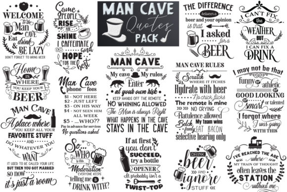 Print on Demand: Man Cave Quotes Pack Graphic Crafts By Nerd Mama Cut Files