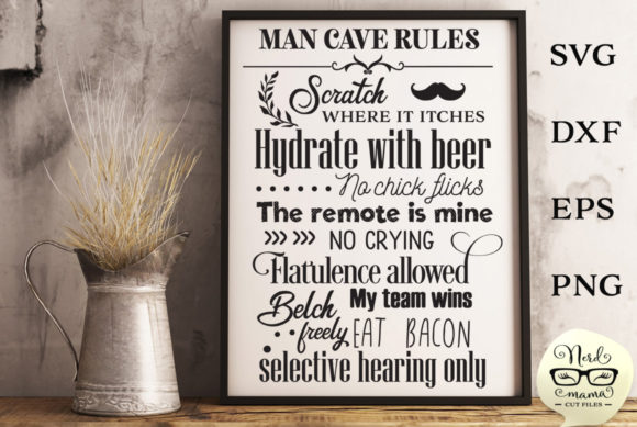 Download Free Man Cave Room Poster Cut File Graphic By Nerd Mama Cut Files for Cricut Explore, Silhouette and other cutting machines.