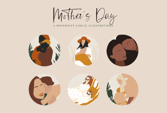 Download Free Mother S Day Illustrations Graphic By Kiyamova Elvina Creative for Cricut Explore, Silhouette and other cutting machines.