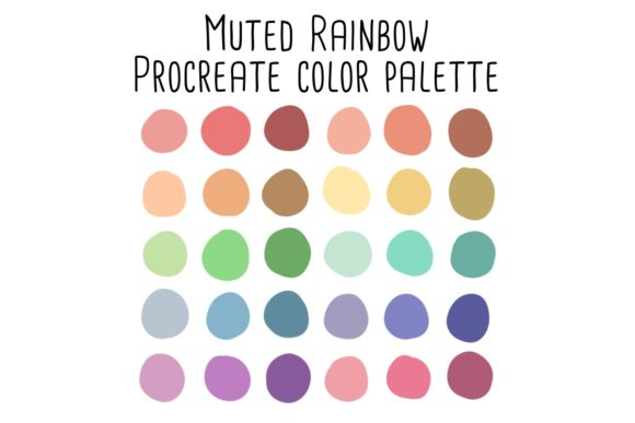 Print on Demand: Muted Rainbow Procreate Color Palette Graphic Add-ons By RoughDraftDesign