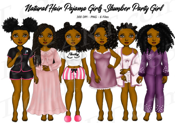 Natural Hair Pajama Sleepover Clipart Graphic Illustrations By Deanna McRae