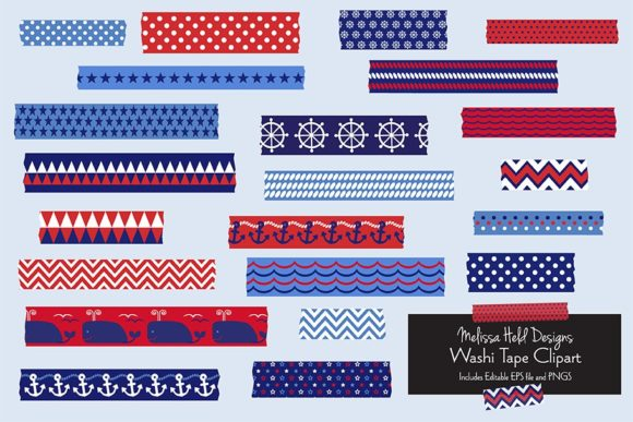 Download Free Nautical Washi Tape Clipart Graphic By Melissa Held Designs for Cricut Explore, Silhouette and other cutting machines.