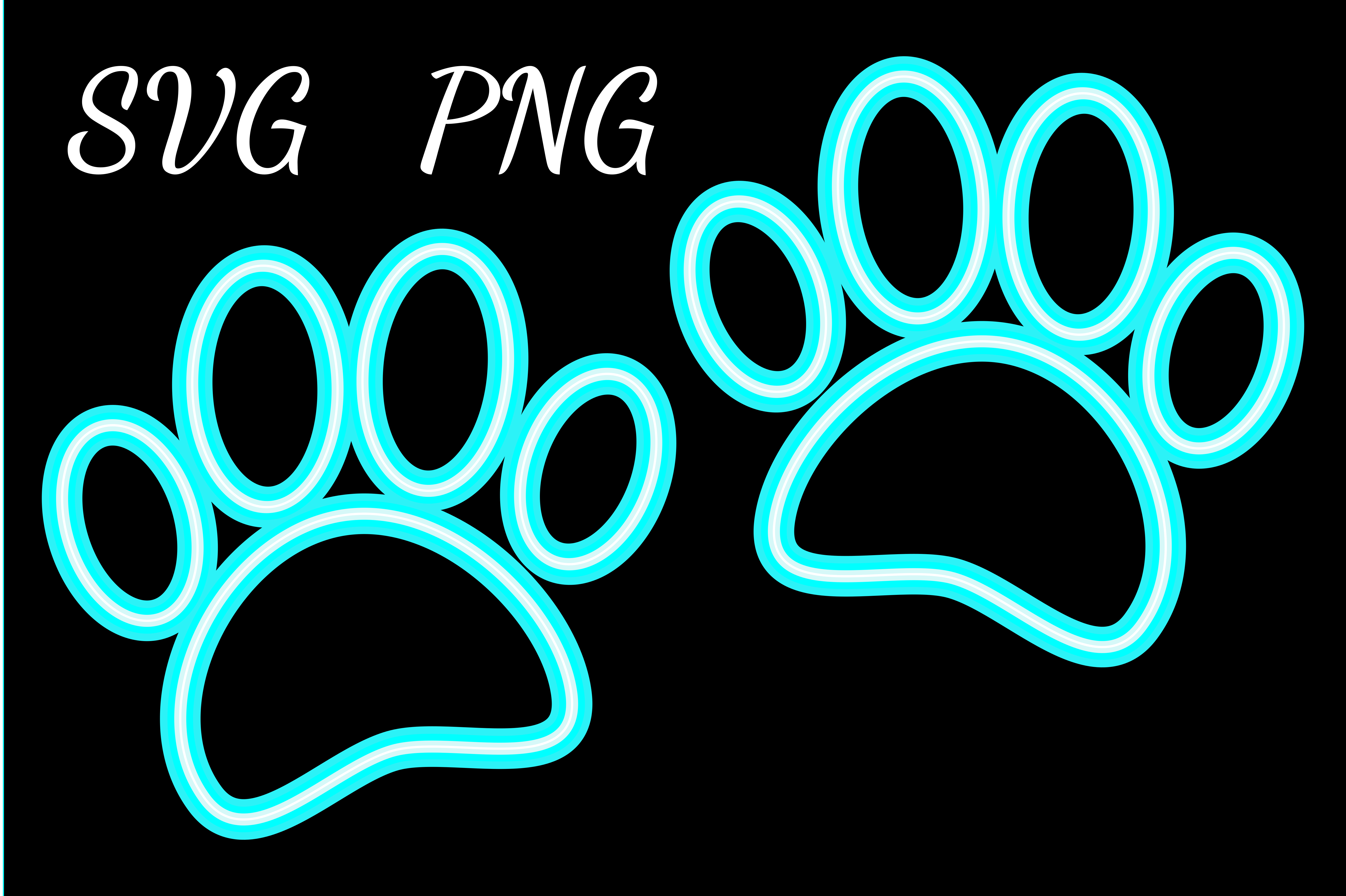 Download Free Neon Dog Paw Prints Graphic By Almdrs Creative Fabrica for Cricut Explore, Silhouette and other cutting machines.
