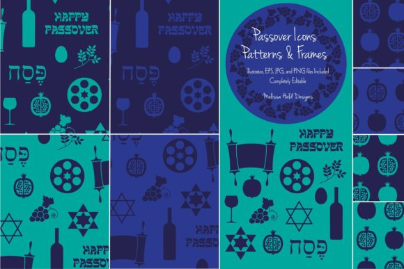 Passover Icons, Patterns, & Frames Graphic Icons By Melissa Held Designs