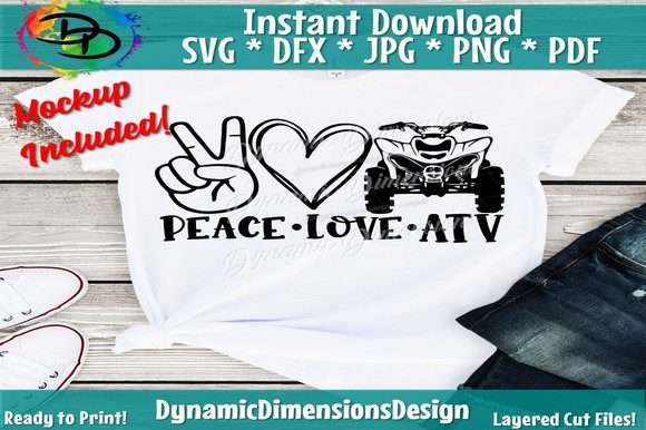Download Free Peace Love Atv Atv Svg Atv Svg Mud Bu Graphic By for Cricut Explore, Silhouette and other cutting machines.