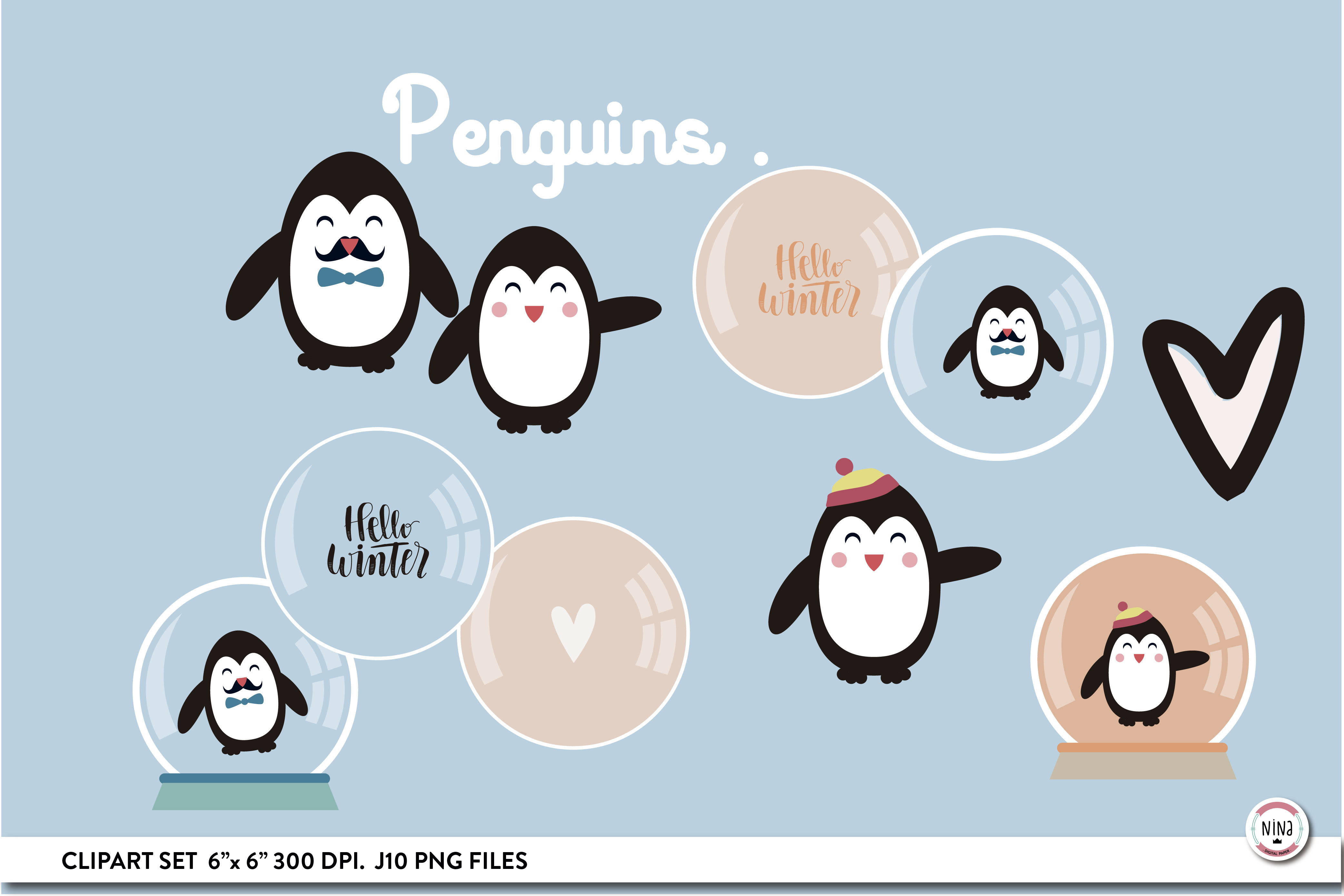 Penguins Clipart Set Snowglobes Graphic By Nina Prints Creative Fabrica