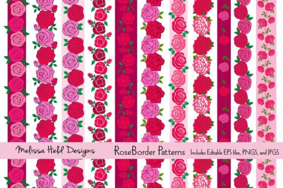 Rose Border Patterns Graphic Illustrations By Melissa Held Designs