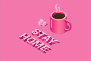 Print on Demand: STAY HOME with Coffe in Isometric Vector Graphic Illustrations By aryo.hadi