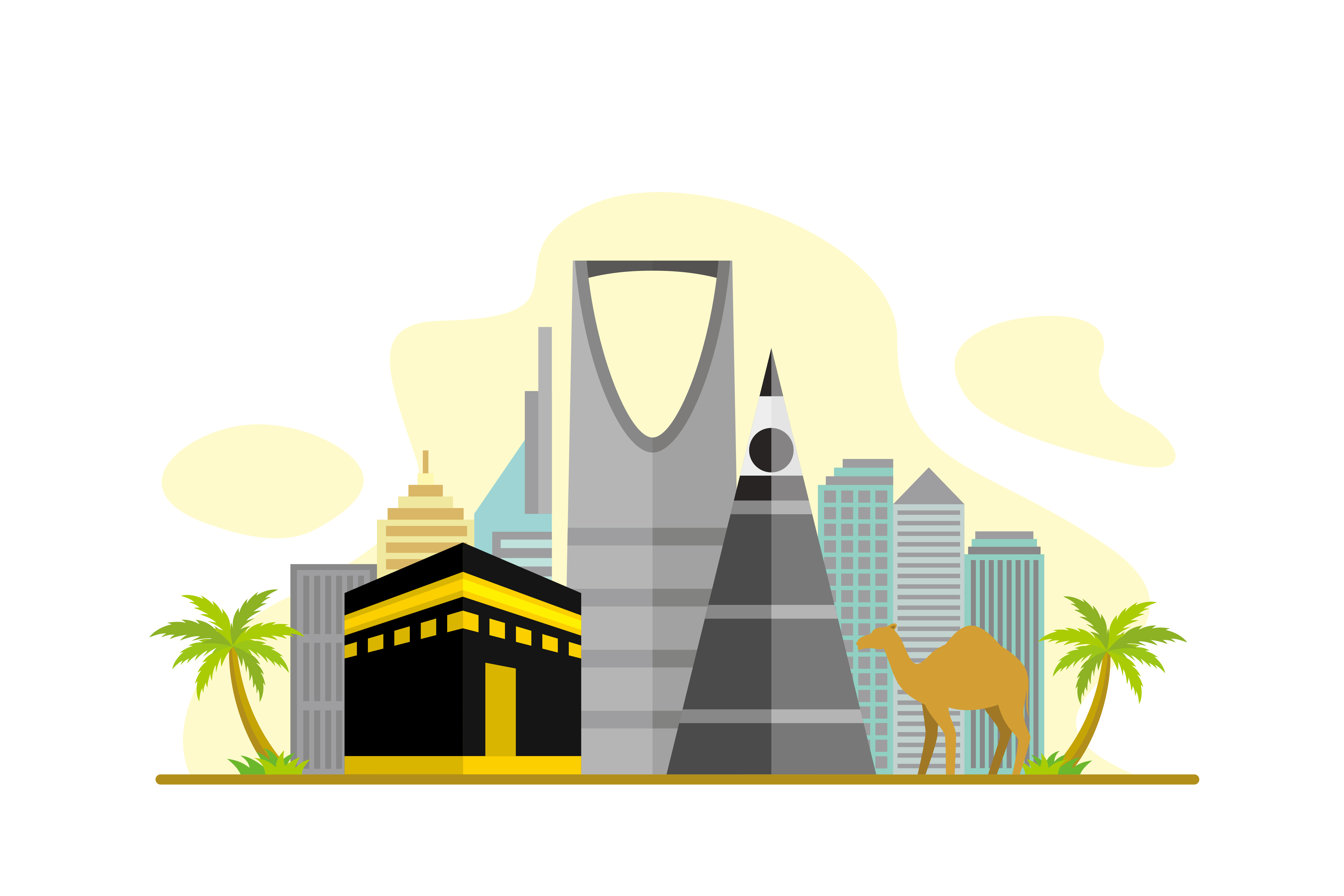 Download Free Saudi Arabia Flat Design Illustration Graphic By Lartestudio for Cricut Explore, Silhouette and other cutting machines.