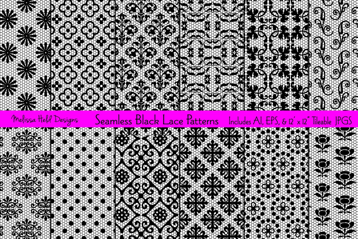 Download Free Seamless Black Lace Patterns Graphic By Melissa Held Designs for Cricut Explore, Silhouette and other cutting machines.