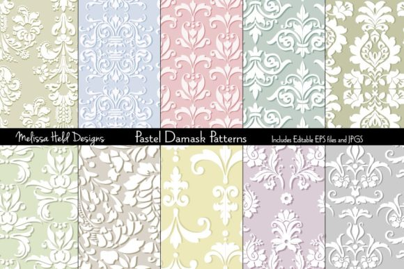 Seamless Damask Patterns Graphic By Melissa Held Designs