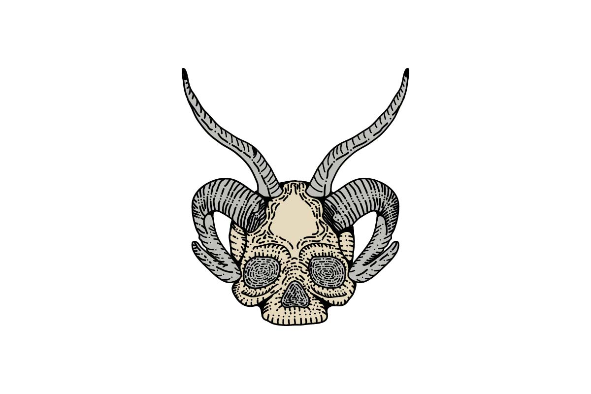 Download Free Skull And Bighorn Graphic By Artpray Creative Fabrica for Cricut Explore, Silhouette and other cutting machines.
