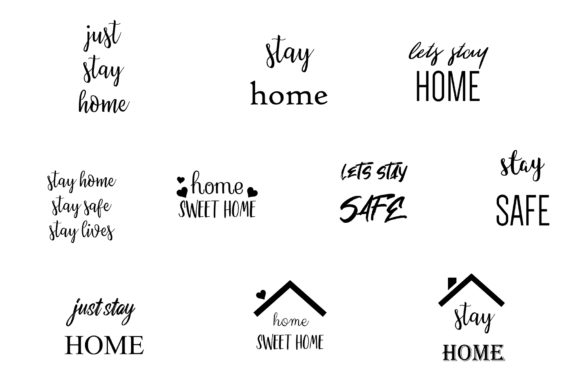 Stay Home Stay Safe Quotes Graphic Crafts By BonaDesigns - Image 2