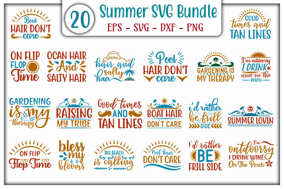 Print on Demand: Summer SVG Bundle Graphic Print Templates By GraphicsBooth