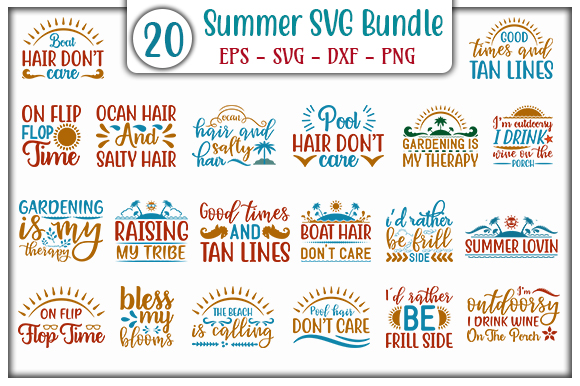 Download Free Summer Bundle Graphic By Graphicsbooth Creative Fabrica for Cricut Explore, Silhouette and other cutting machines.
