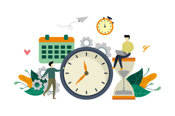 Download Free Time Management Design Flat Illustration Graphic By Lartestudio for Cricut Explore, Silhouette and other cutting machines.