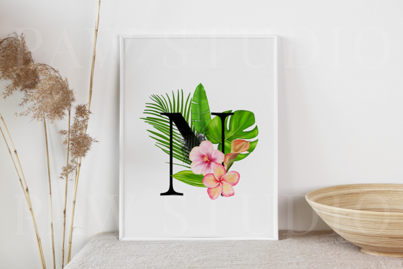 Print on Demand: Tropical Graphic Letters and Floral Frames Graphic Illustrations By PawStudio - Image 8