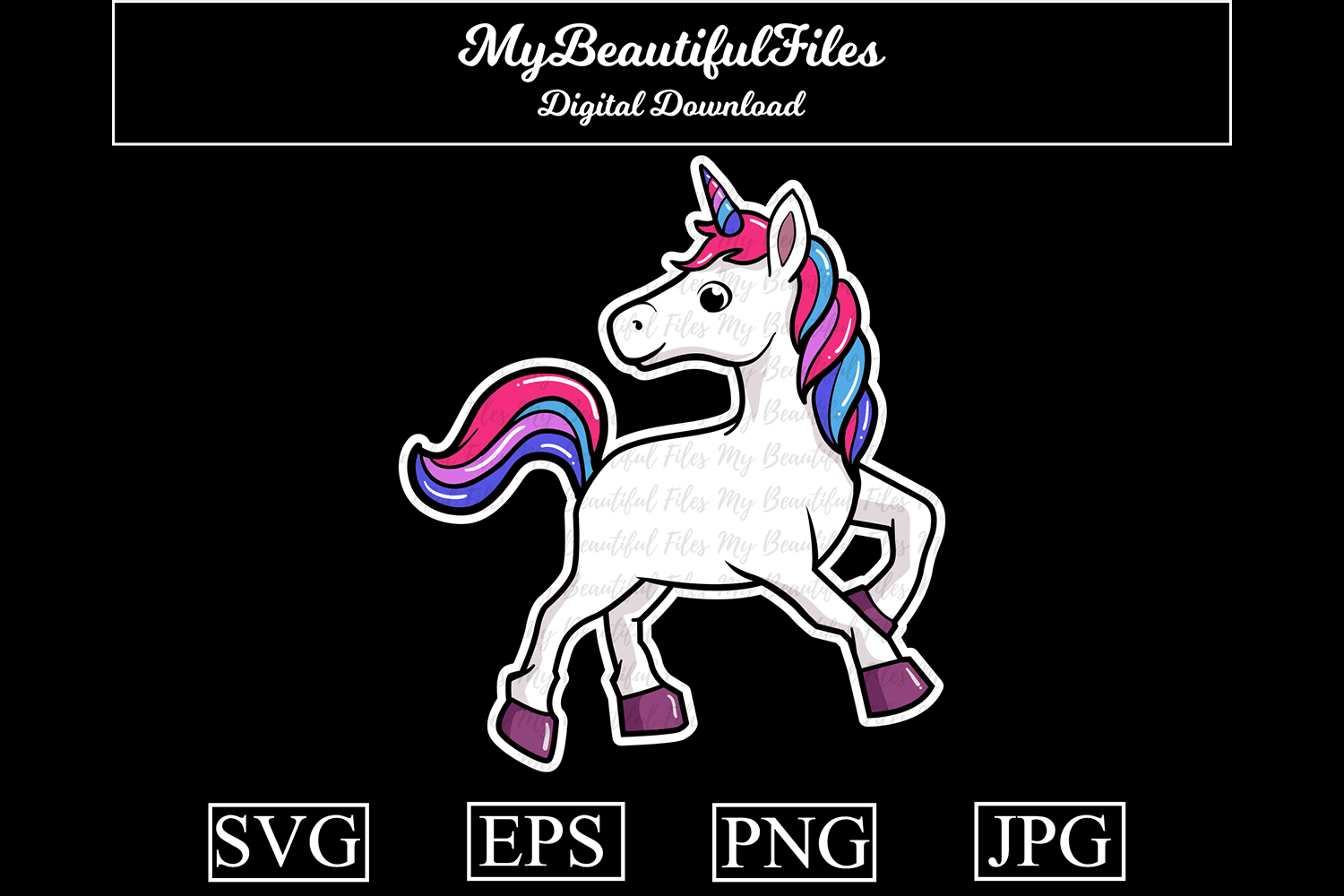 Download Free Unicorn Cartoon Illustration Graphic By Mybeautifulfiles for Cricut Explore, Silhouette and other cutting machines.