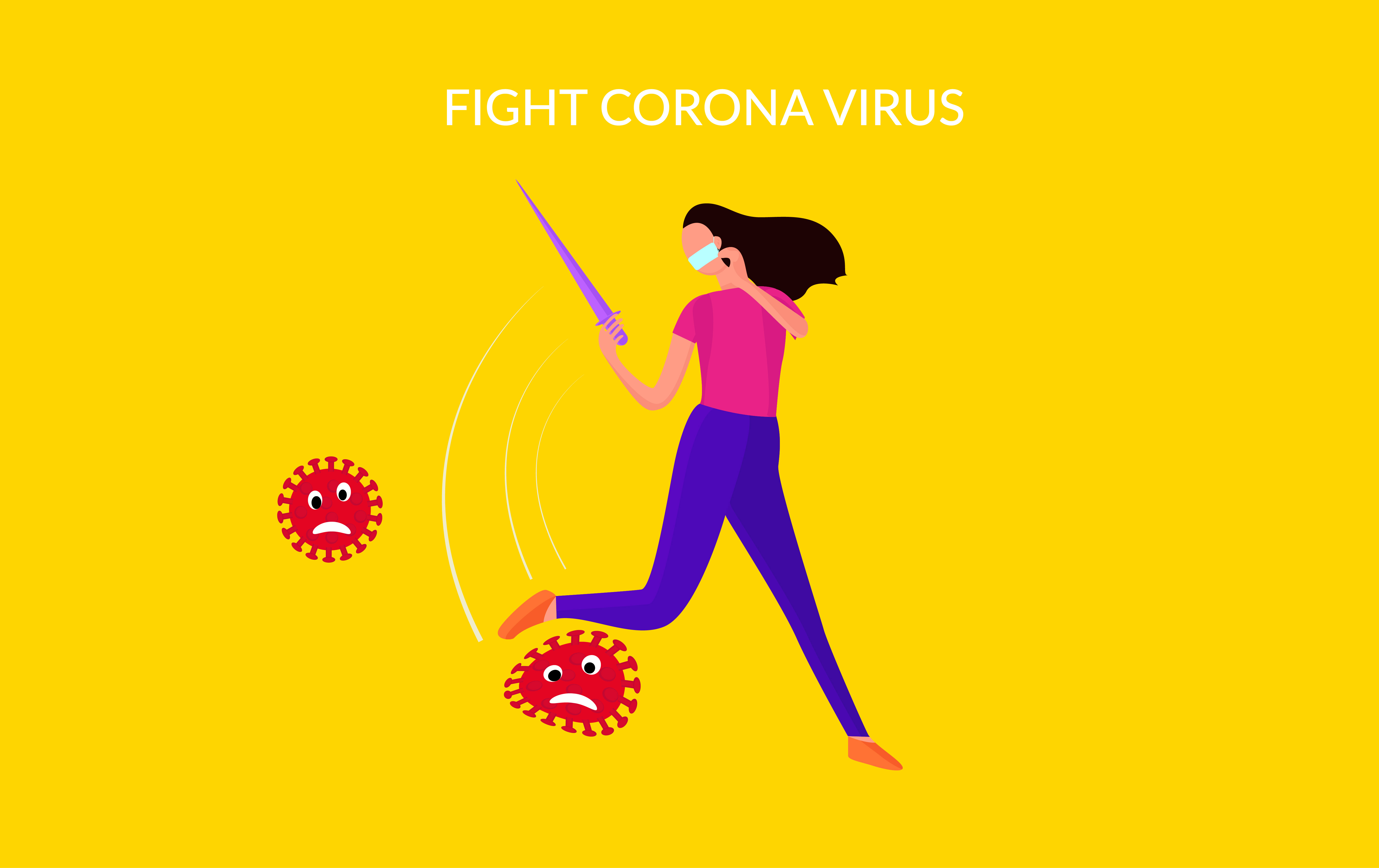 Download Free Vector Illustration Fight Virus Graphic By Ngabeivector for Cricut Explore, Silhouette and other cutting machines.