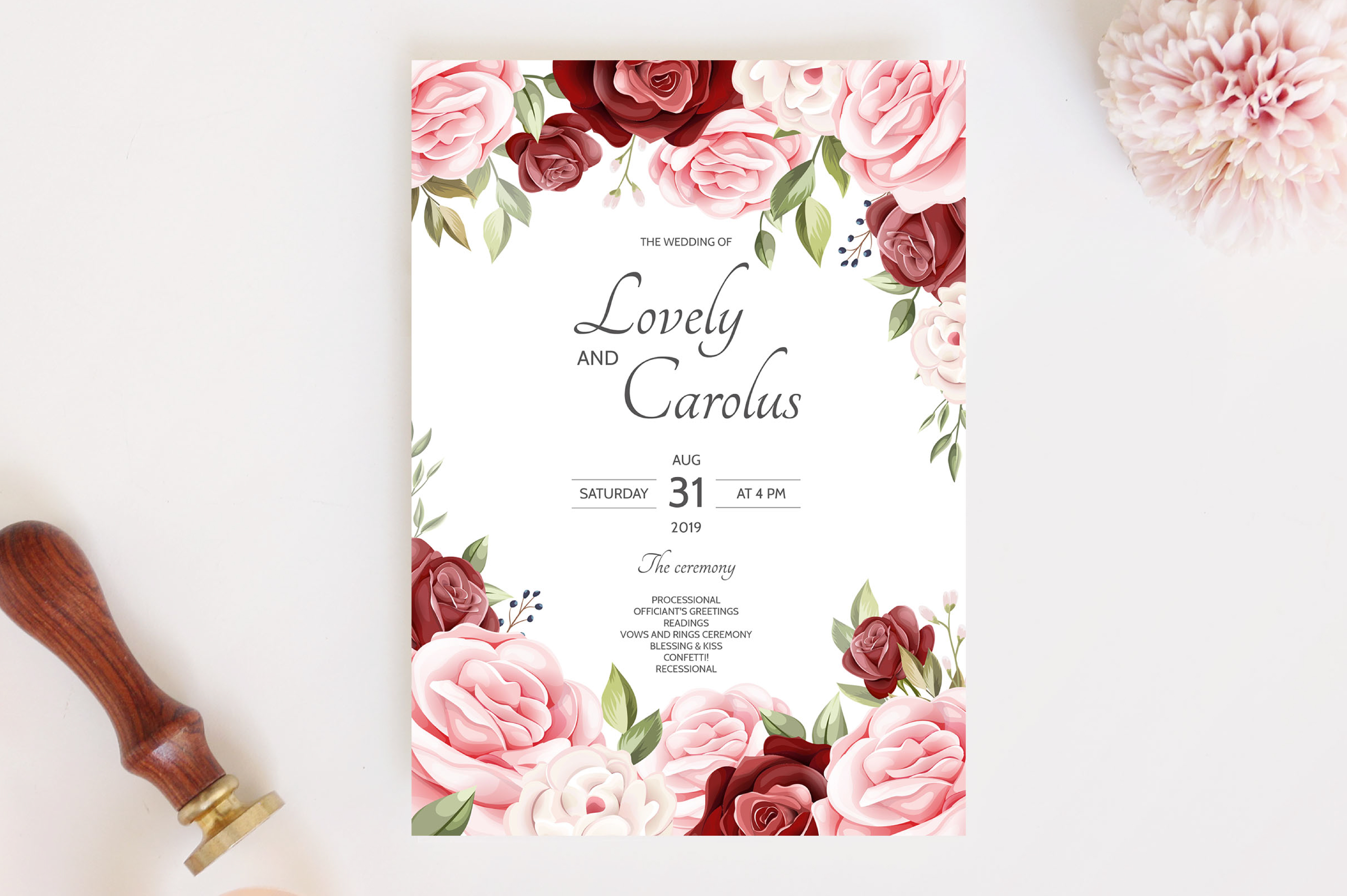 Download Free Wedding Invitation Card Graphic By Dinomikael01 Creative Fabrica for Cricut Explore, Silhouette and other cutting machines.