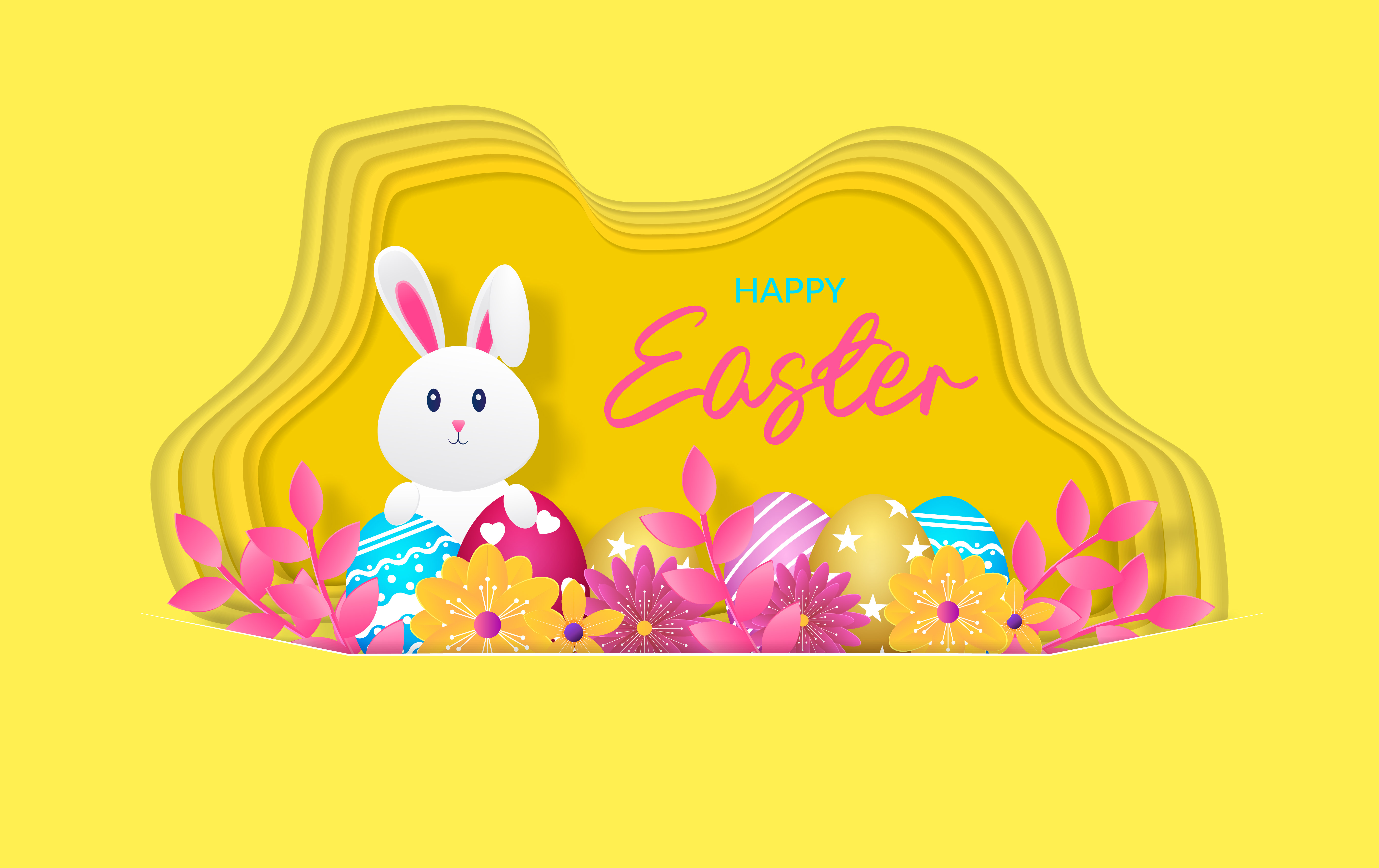 Download Free Happy Easter Design Graphic By Ngabeivector Creative Fabrica for Cricut Explore, Silhouette and other cutting machines.