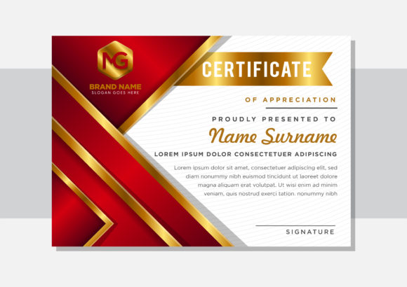 Print on Demand: Red Gold Certificate Horizontal Graphic Graphic Templates By noory.shopper