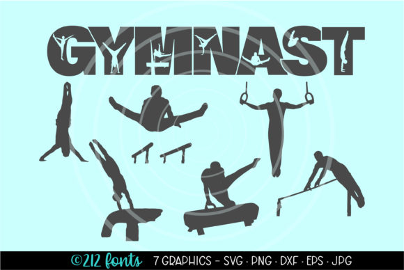Download Free 7 Gymnast Mens Gymnastics Graphics Files Graphic By 212 Fonts for Cricut Explore, Silhouette and other cutting machines.