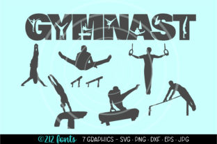 Print on Demand: 7 Gymnast Mens Gymnastics Graphics Files Graphic Illustrations By 212 Fonts