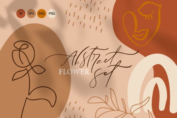 Abstract Flower Set Graphic Objects By Happy Letters