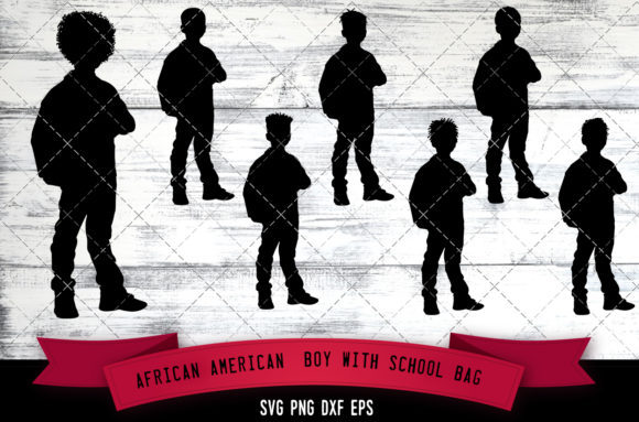 Download Free African American Boy With School Bag Graphic By for Cricut Explore, Silhouette and other cutting machines.