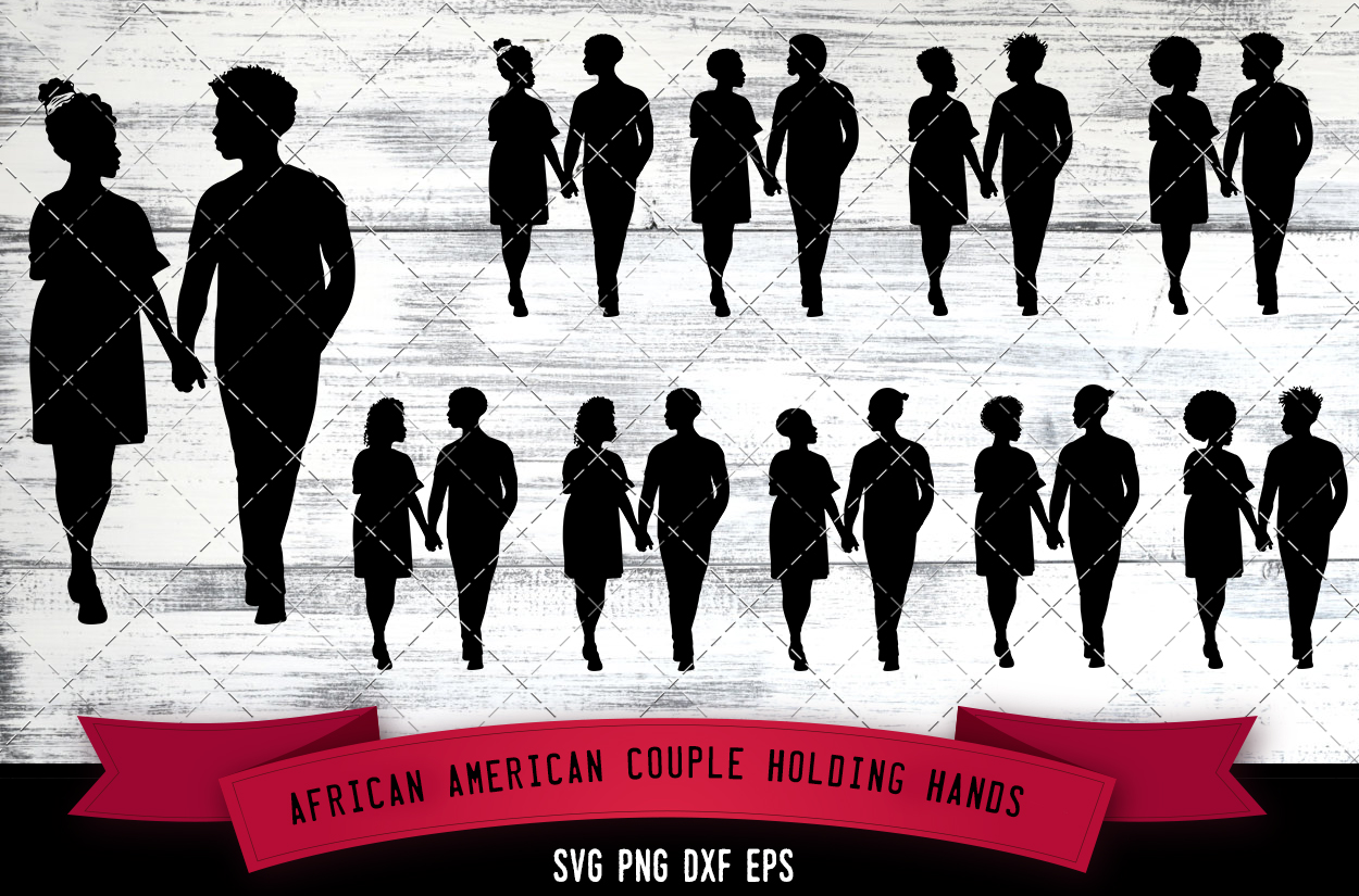 Download Free African American Couple Holding Hands Graphic By SVG Cut Files