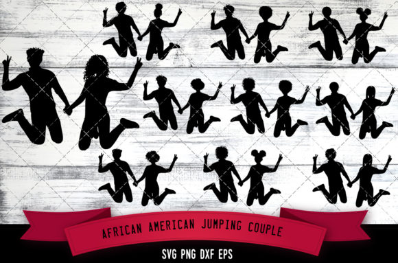 Download Free African American Couple Jumping Graphic By for Cricut Explore, Silhouette and other cutting machines.