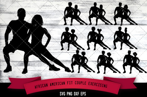 Download Free African American Fit Couple Exercising Grafico Por for Cricut Explore, Silhouette and other cutting machines.