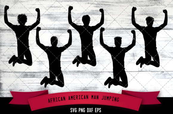 Download Free African American Man Jumping Black Graphic By for Cricut Explore, Silhouette and other cutting machines.