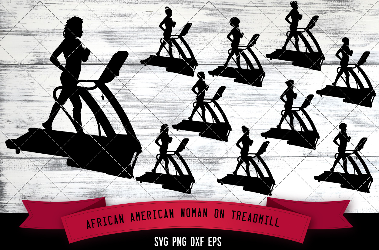 Download Free African American Woman On Treadmill Grafik Von for Cricut Explore, Silhouette and other cutting machines.