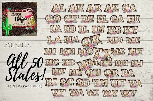 All 50 States Leopard Marquee Boho Graphic Illustrations By Crazy Heifer Design Shoppe