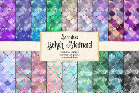 Print on Demand: Bokeh Mermaid Digital Paper Grafik Muster von Digital Curio