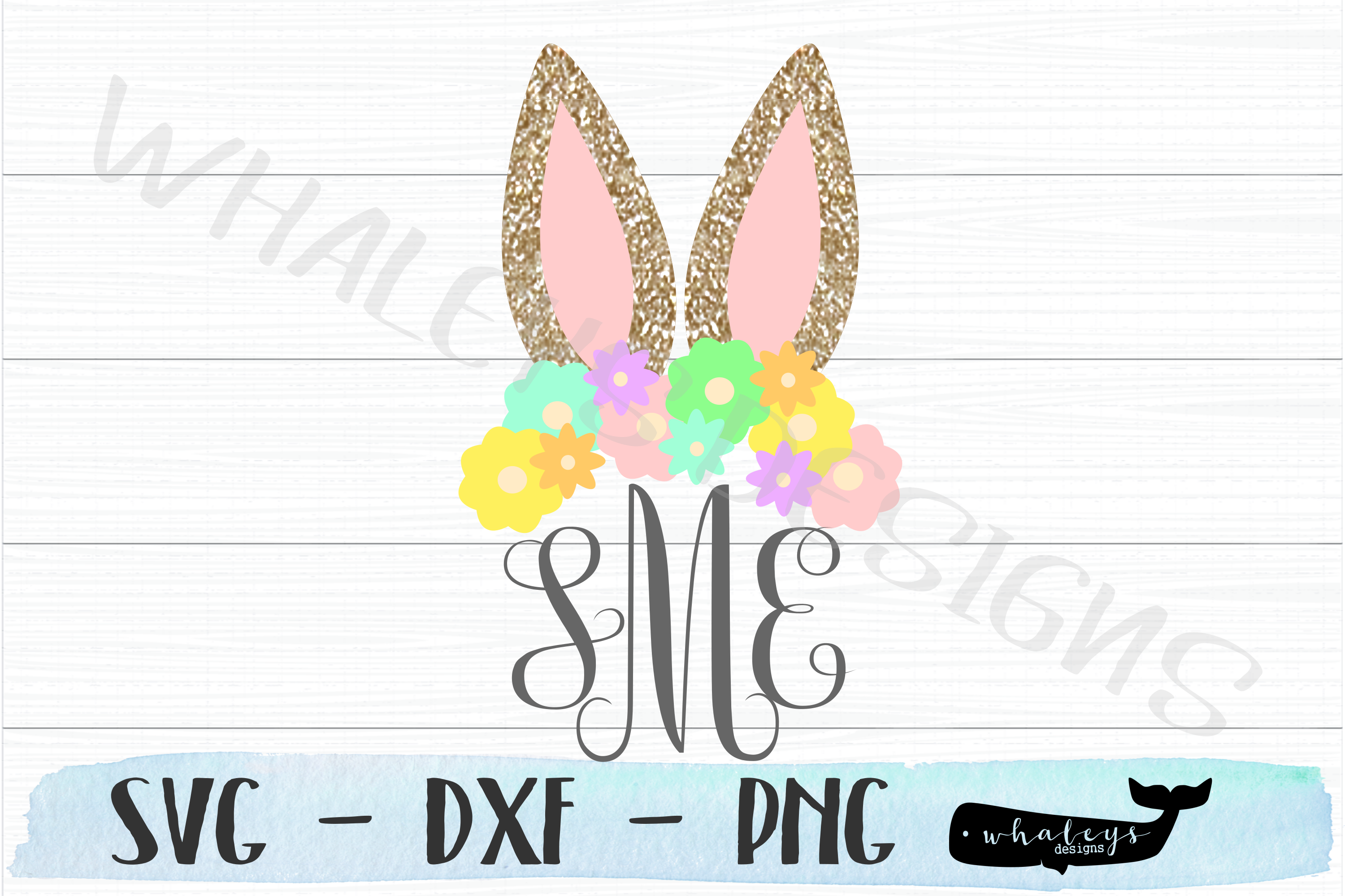 Download Free Bunny Ears W Flowers Monogram Easter Graphic By Whaleysdesigns for Cricut Explore, Silhouette and other cutting machines.