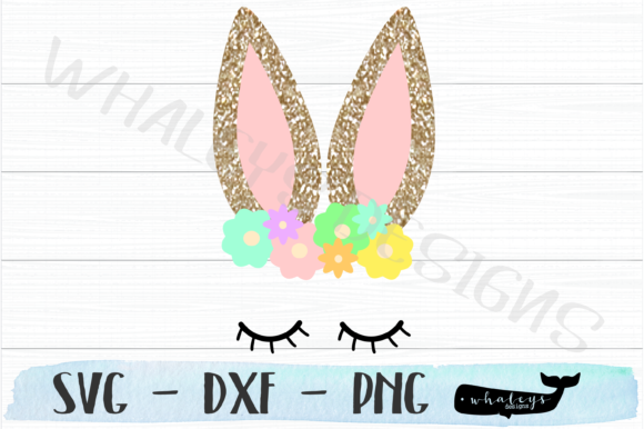 Download Free Bunny Face W Ears Flowers Easter Graphic By Whaleysdesigns for Cricut Explore, Silhouette and other cutting machines.