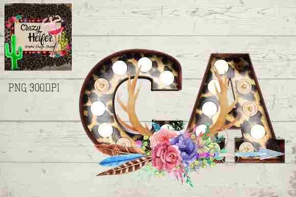 Print on Demand: California CA Marquee Leopard Letters Graphic Illustrations By Crazy Heifer Design Shoppe