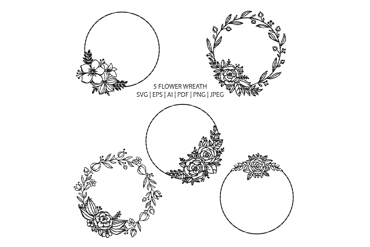 Download Free Circle Floral Wreath Clip Art Bundle Graphic By Meshaarts for Cricut Explore, Silhouette and other cutting machines.