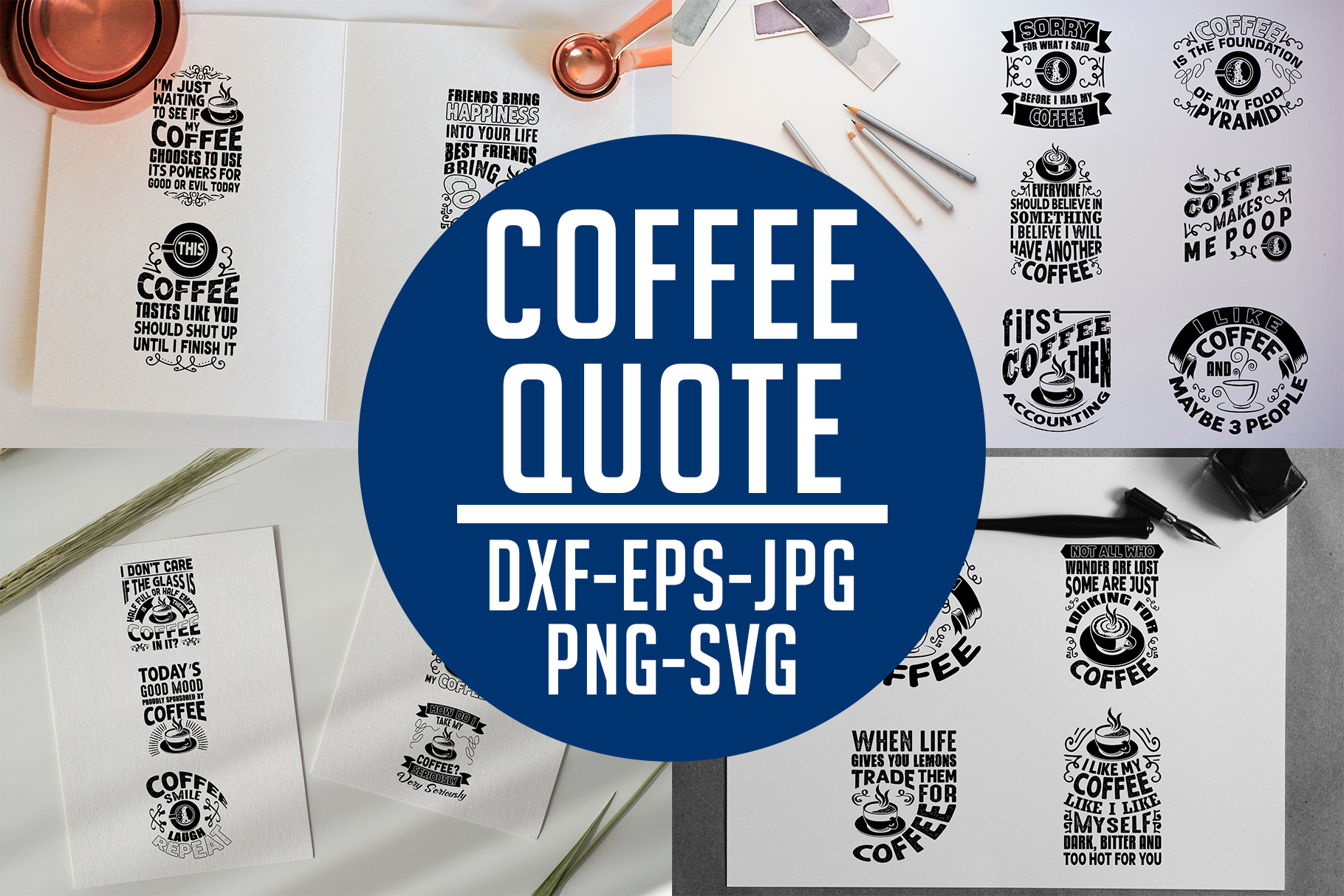 Download Free Coffee Quotes V8 Black For Cricut Graphic By Tosca Digital SVG Cut Files