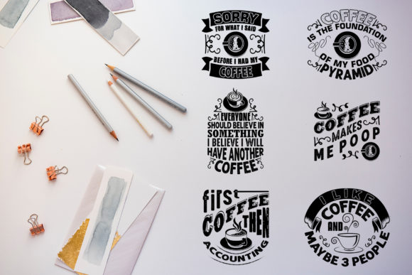 Download Free Coffee Quotes V8 Black For Cricut Graphic By Tosca Digital Creative Fabrica for Cricut Explore, Silhouette and other cutting machines.