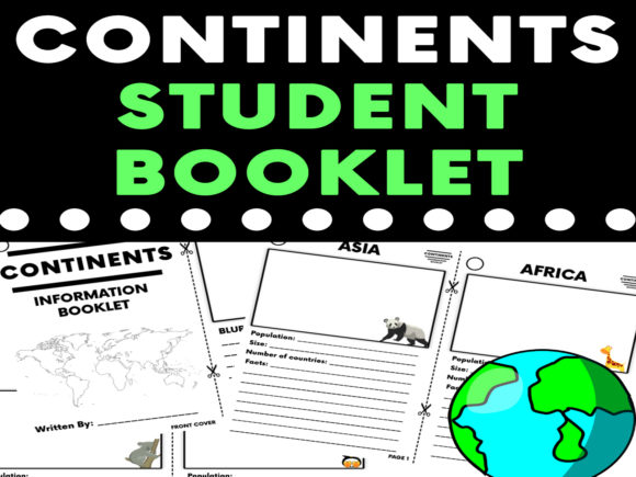 Continents Research Booklet Graphic 4th grade By Saving The Teachers