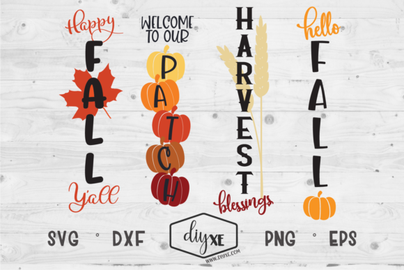 Download Free Fall Front Porch Sign Bundle Graphic By Sheryl Holst Creative for Cricut Explore, Silhouette and other cutting machines.