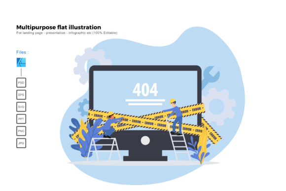 Download Free Flat Illustration 404 Error Page Graphic By Rivatxfz Creative for Cricut Explore, Silhouette and other cutting machines.