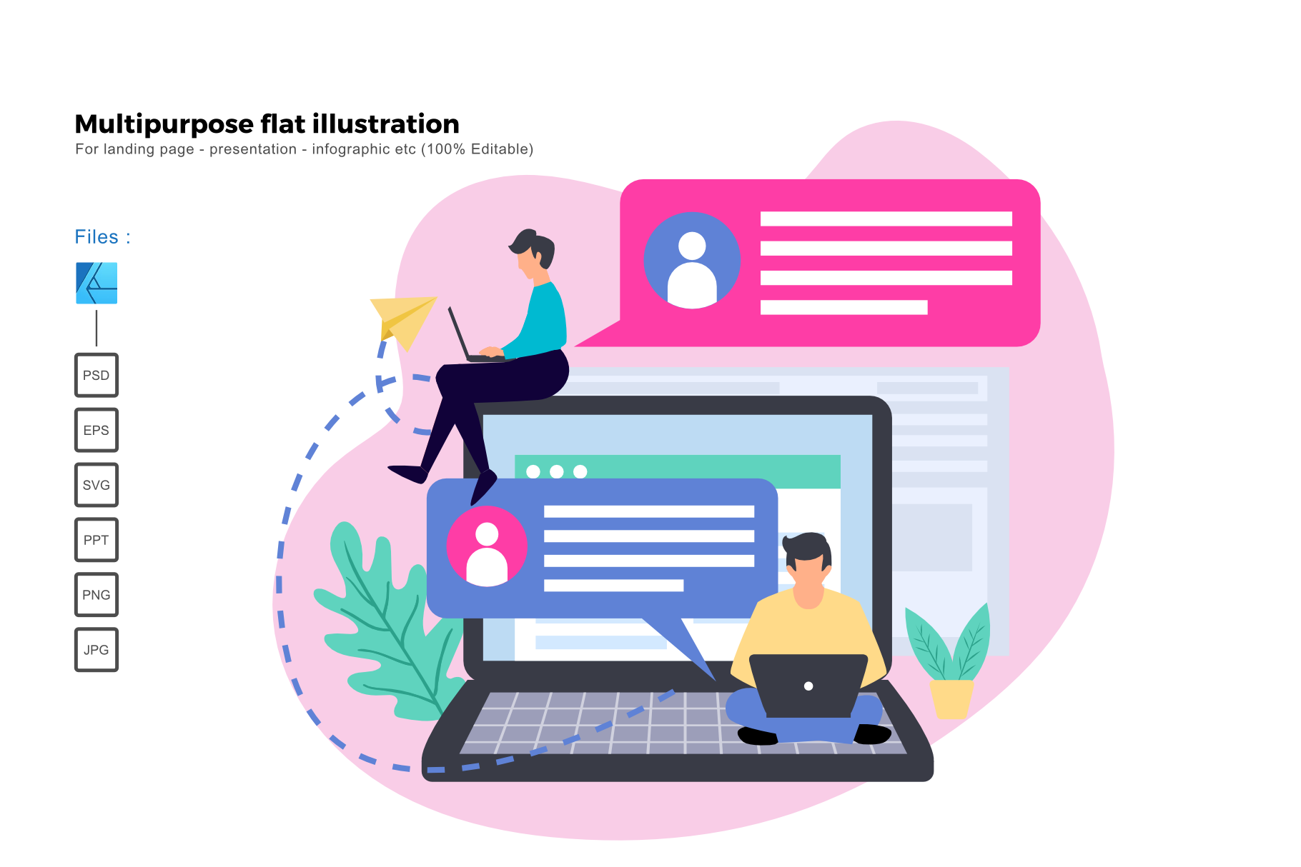 Download Free Flat Illustration Business Chatting Grafico Por Rivatxfz for Cricut Explore, Silhouette and other cutting machines.