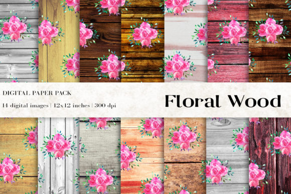 Floral Wood Digital Papers Graphic By Bonadesigns Creative Fabrica